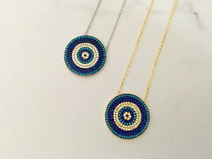 Sterling-Silver-Gold-Cubic-Zirconia-CZ-Crystal-Evil-Eye-Turquoise-Mati-Necklace