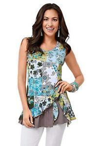 WITT-International-Sleeveless-Print-Top-Green-Size-40-LF086-EE-05