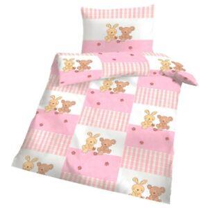 Biber Bettwäsche Baby Bär Und Hase Rosa Weiß 100x135 Cm Kinder Warm