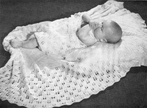 "Lovely vintage 3ply baby shawl knitting pattern measures 46 /"" when knitted"