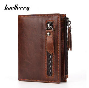 Men-039-s-Genuine-Leather-Cowhide-Bifold-Wallet-Credit-Card-ID-Holder-Zipper-Purse