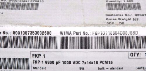 10pcs-Wima FKP1 6800P 1000 V 5/% Pitch 15 mm Condensateur 6800PF 6.8nF