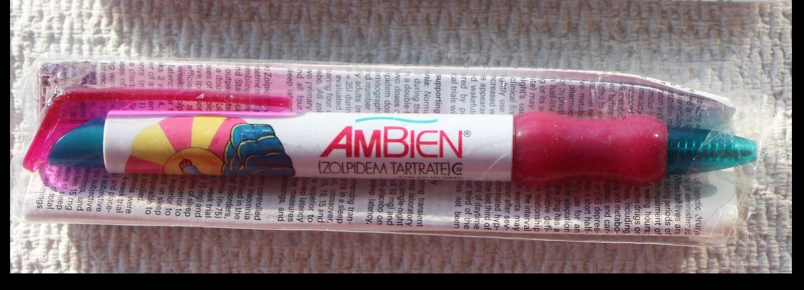 Drug Rep Pens 1 Ambien Wide Body  White w/ Rose Color Grips  NIP Rare Pen 1