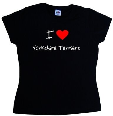 I Love Heart Yorkshire Terriers Ladies T-Shirt
