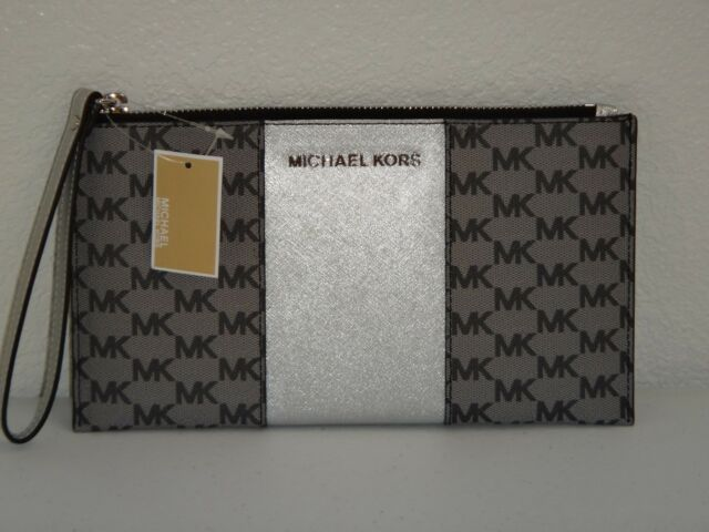 e92019a96abb32 MICHAEL KORS Center Stripe MK Signature Zip CLUTCH Wrist-let Wallet Gray  Silver