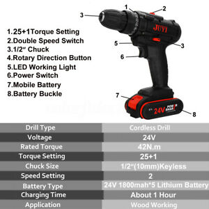 3-in-1-24V-Electric-Cordless-Drill-Screwdriver-LED-2-Speed-Li-Ion-Battery-Set