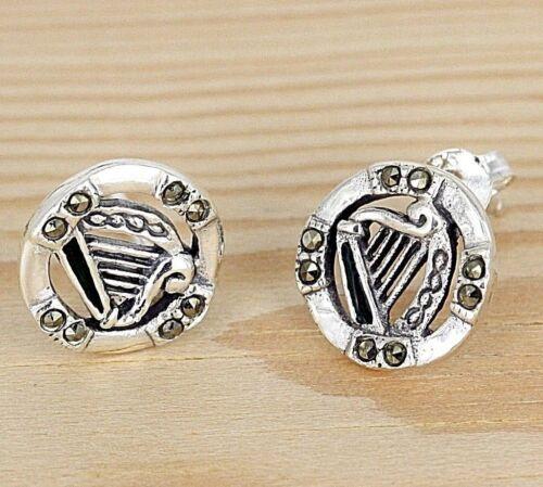 Encantador en gaélico aproximadamente pendientes de plata-esmaltes-Rubi-arpa celta