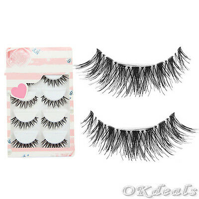 New 5 Pairs Lot Black Cross False Eyelash Soft Long Makeup Eye Lash Extension