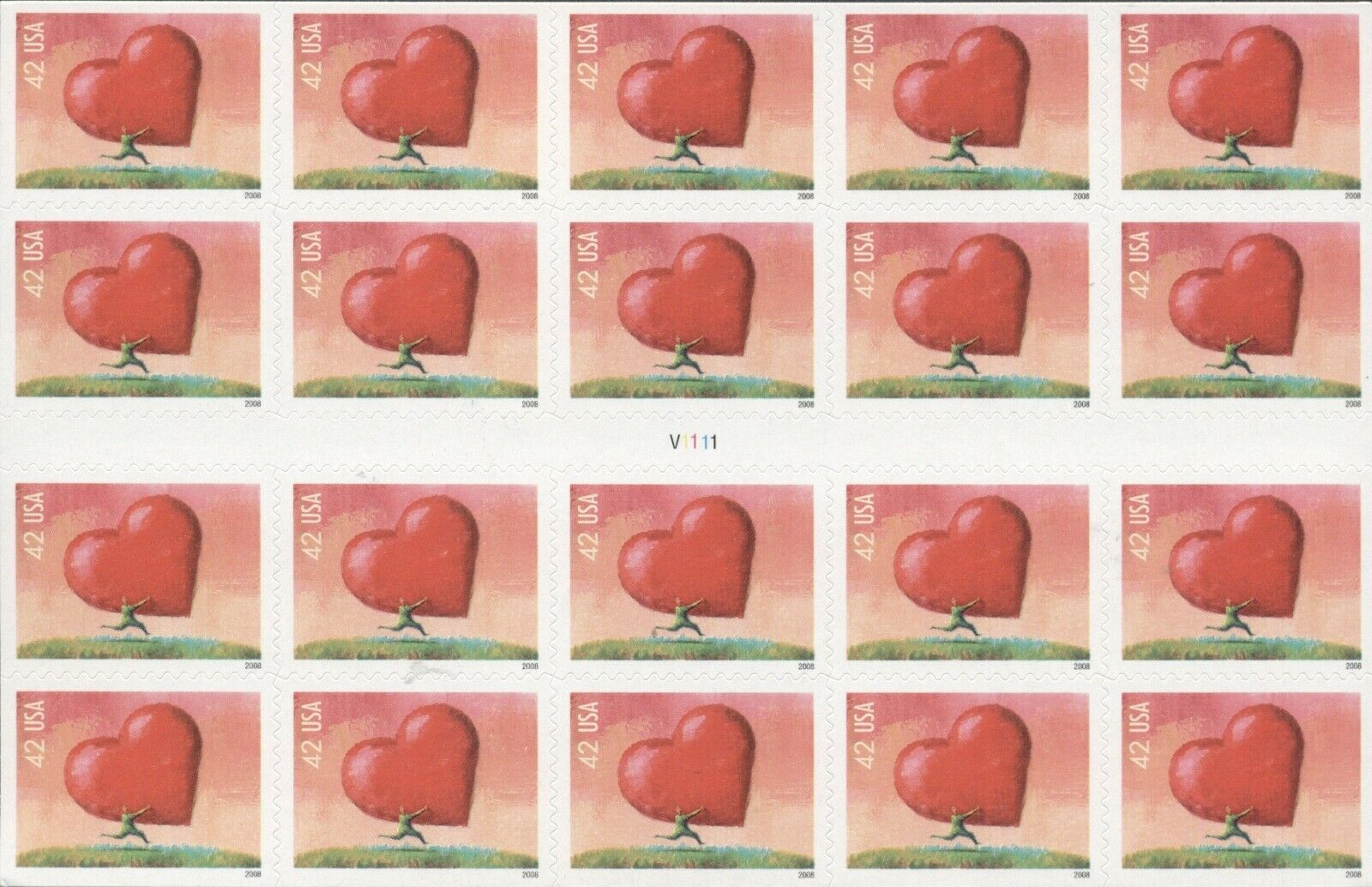 US: 2008 LOVE - ALL HEART; Convertible Booklet Sc 4270; 42 Cents Values
