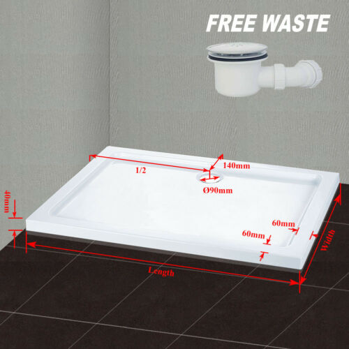 Square Rectangle Quadrant Shower Tray For Glass Shower Enclosure Plinth Waste