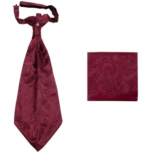 New men/'s polyester ASCOT cravat neck tie /& hankie set Burgundy Paisley prom