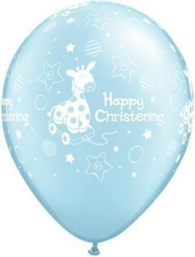 "Happy Christening Soft Giraffe Pearl Light Blue Qualatex 11/"" Latex Balloons x 5"