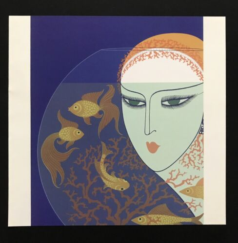 Vintage Art Book Plate ERTE Print Art Deco Fashion Fish Bowl Goldfish 01329