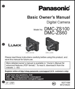 panasonic dmc zs60 zs100 basic digital camera user guide instruction rh ebay com panasonic user guides panasonic user guide phone