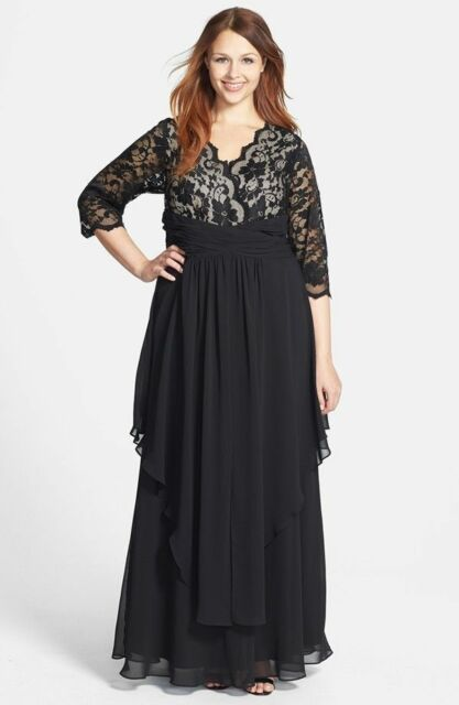 Eliza J Black Lace & Layered Chiffon Gown Mother of The Bride.sz 14 ...