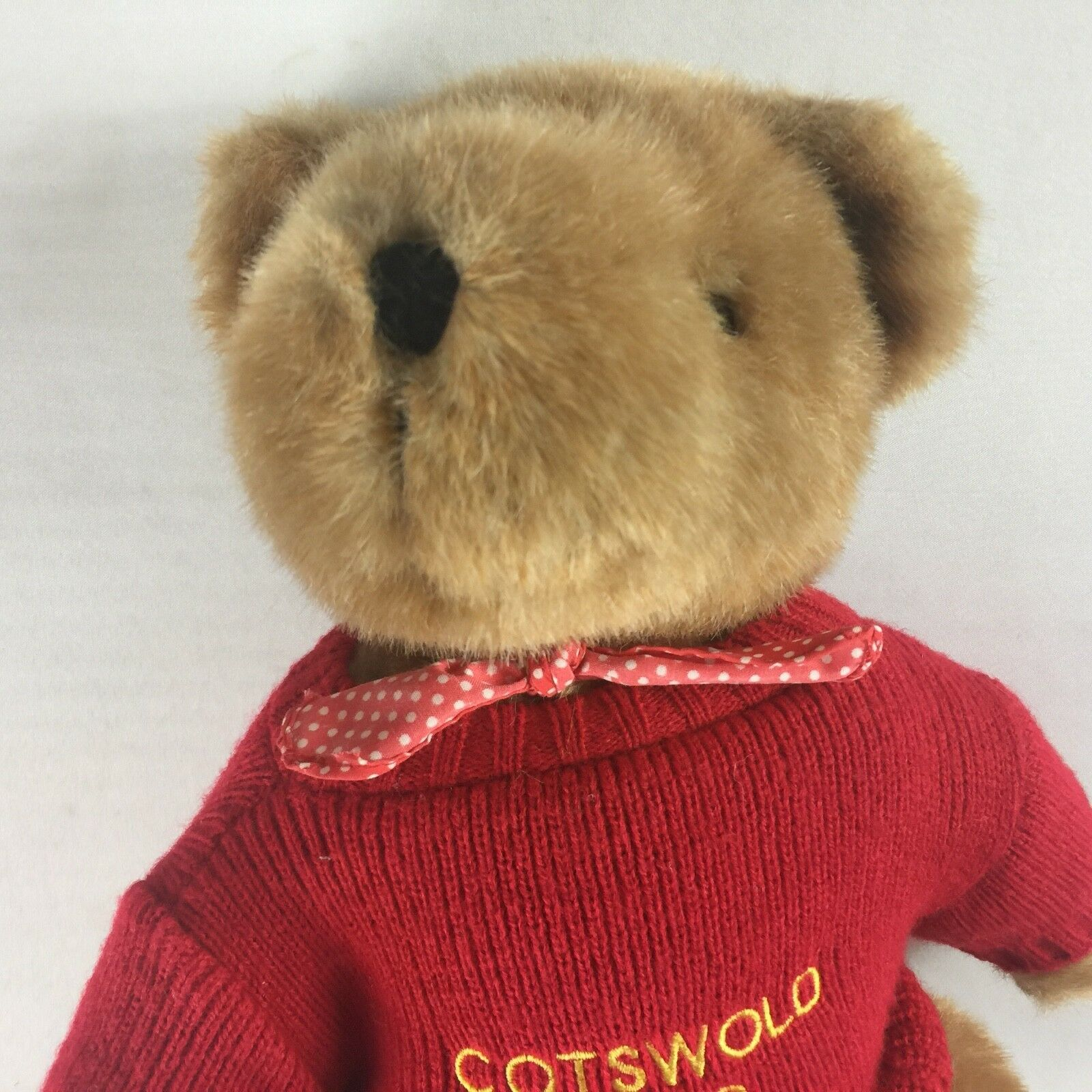 Cotswold Plush Bear VTG Fully Jointed Legs Head Arms Legs Jointed Sweater Bow Tie UK England 6611a4