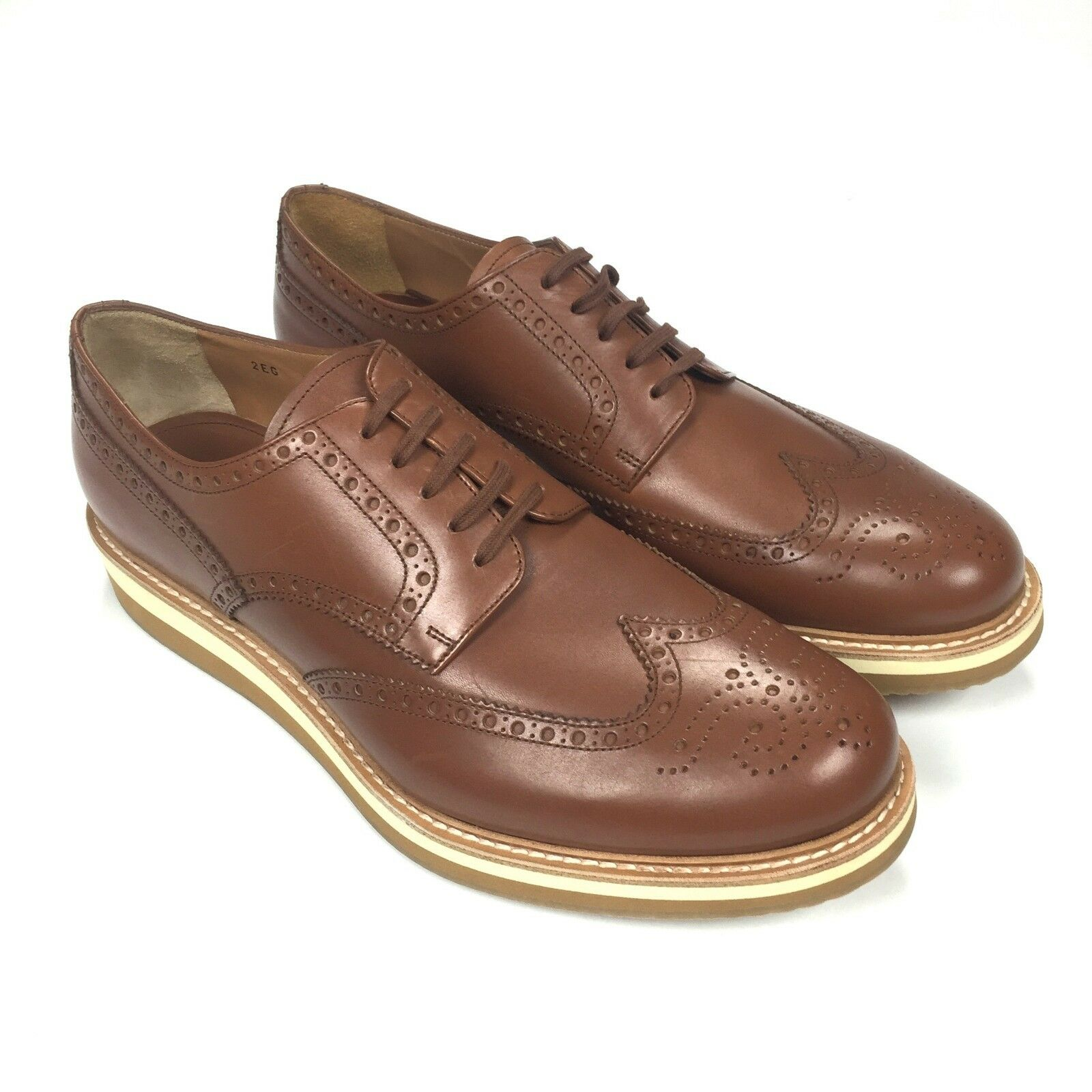 NWT  Prada RUNWAY Men's Wingtip Brogue Creeper shoes Brown Leather AUTHENTIC