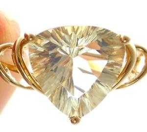 10k Gold 3 89ct Star Burst Trillion Cut Topaz Ring Scroll