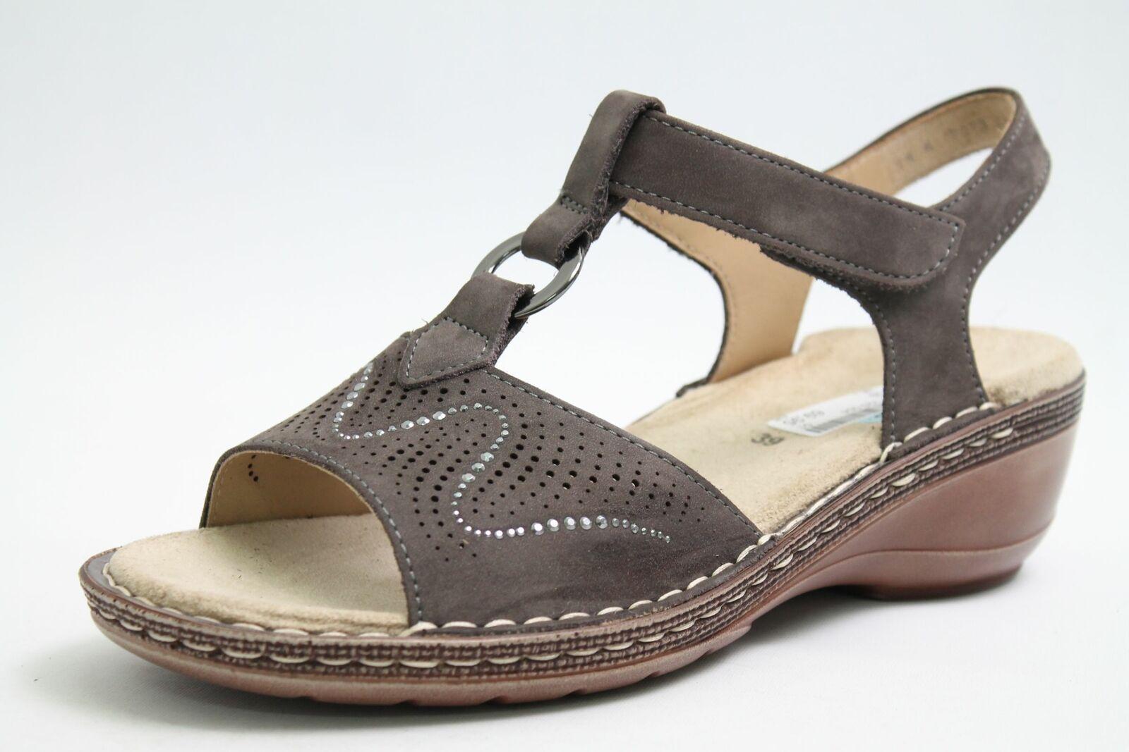 Ara Sandaletten grau echt Nubuk Leder Klettverschluss Schuhweite G Damen