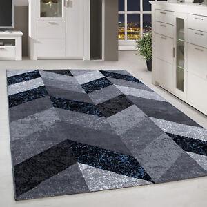 Moderner-Kurzflor-Teppich-Parkett-Marmor-Gemustert-Schwarz-Blau-Meliert-Wohnzim