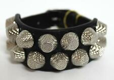 New Balenciaga Black Arena 2 Row Giant Stud Leather Bracelet