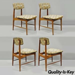Outstanding Details About Mid Century Danish Modern Walnut Upholstered Curved Back Dining Chairs Set Of 4 Machost Co Dining Chair Design Ideas Machostcouk