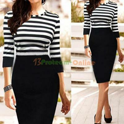 Women Autumn Winter Striped Bodycon Casual Party Cocktail Work Wear Pencil Dress