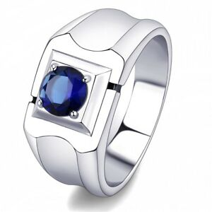 bc3caa87f64a97 6.5mm Round Cut Montana Blue CZ Solitaire Stainless Steel Mens ...