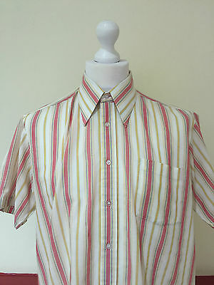 TRUE VINTAGE S/S SHIRT DAGGER COLLAR CREAM STRIPE 60s 70s RETRO DISCO (S107) LRG