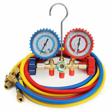 Biltek HVAC R12 R22 R502 A//C Diagnostic Manifold Gauge Kit w// 3 Color 60 Charging Hose