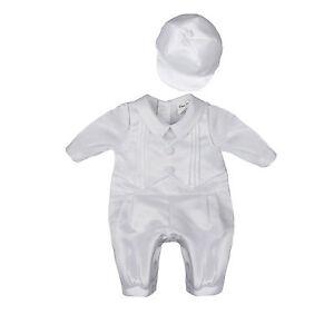 8ef3f2fe Image is loading NEW-Baby-Boys-Newborn-White-Satin-Christening-Baptism-