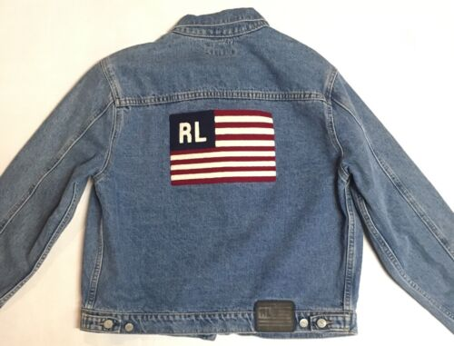 Vtg Ralph Lauren flag denim jacket 1990s snow beac