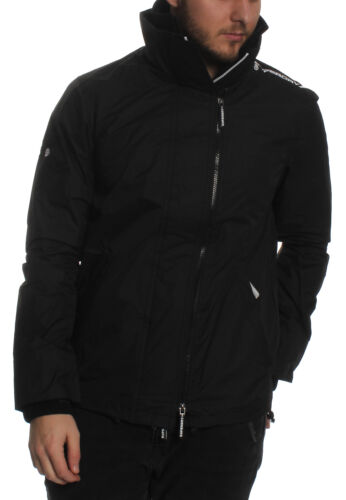 Superdy Jacket Men Technical Pop Zip Windcheater Black Optic White
