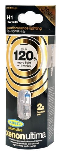120/% Uprated Headlight Bulbs 12v 55w H1 RW1248 Ring H1 XENON ULTIMA x2