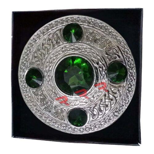 """AAR Celtic Kilt Fly Plaid Brooch Green Stones Silver Finish 4/""""//Scottish//Highland"""