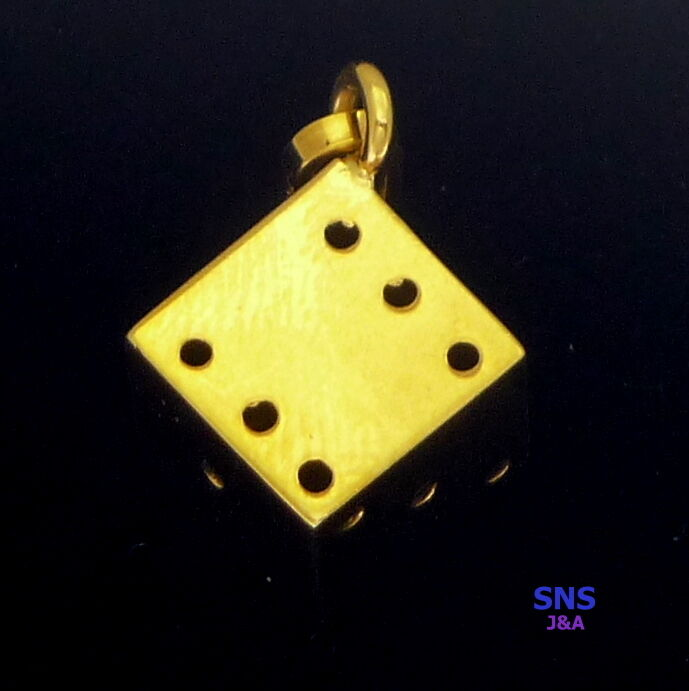 14K Solid Yellow gold Dice 3 Dimensional Charm  Pendant 10mm x 10mm
