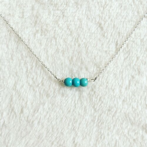 Sterling Silver Chain Triple Gemstone Simple Dainty Turquoise Pendant Necklace