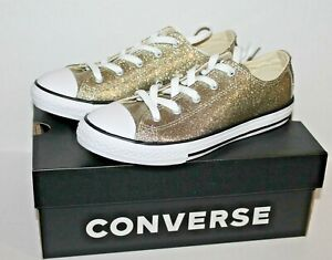 Details about Converse 660046C Junior Girls Gold Glitter Sneakers Shoes Girl Size 5 NEW