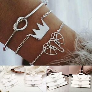 Fashion-3Pcs-Set-Silver-Crown-Knot-Elephant-Charm-Bangle-Chain-Bracelet-Jewelry