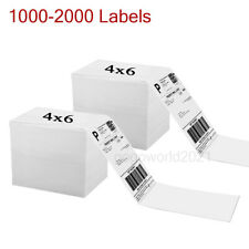 1000 2000 4x6 Fanfold Direct Thermal Shipping Labels For Zebra And Rollo Printer