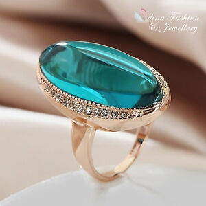 18K-Rose-Gold-Plated-Semi-Precious-Stone-Vintage-Marquise-Cut-Dark-Emerald-Ring