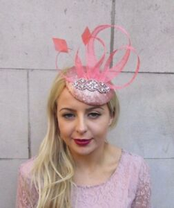 d9e7d420027c0 Image is loading Rose-Gold-Coral-Sequin-Feather-Fascinator-Hat-Hair-