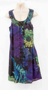 Butterfly-By-MW-Multicoloured-Shift-Dress-With-Black-Beads-Around-Neck-UK-8-D21