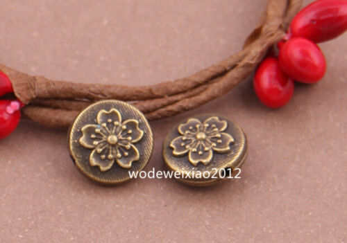 15pc Antique Bronze Charm Flowers String Spacer accessories Beads wholesalePL309