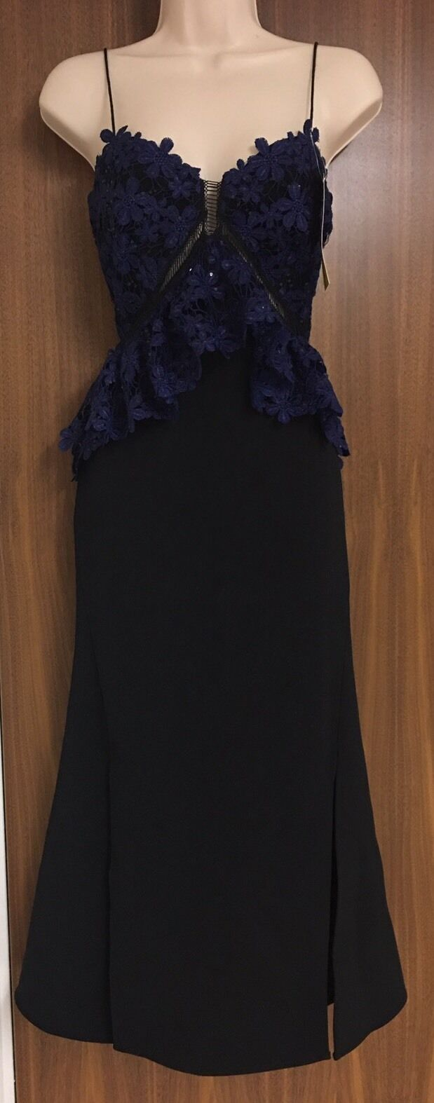 SELF-PORTRAIT Embroidered Lace & Crepe Dress Size  US 4