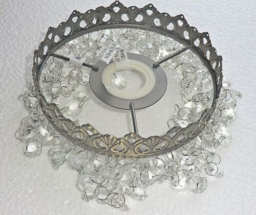 CHANDELIER LAMP LIGHT SHADE ANTIQUE BRASS VINTAGE LOOK GLASS DROPLETS BEAD DROPS