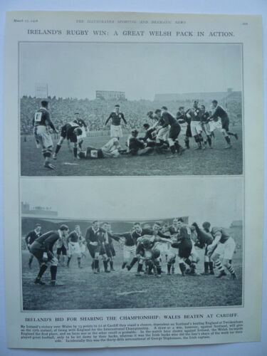 """ IRELAND'S RUGBY WIN A GREAT WELSH PACK IN ACTION "" 1928. RARE."