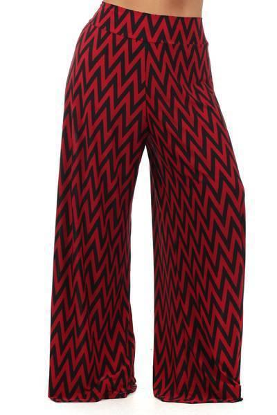 Celeb Style Chevron Zig Zag Geometric Palazzo pants wide leg Black & Red