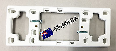 WHITE QUAD MOUNTING BLOCK 12mm for 4 GANG POWER POINT WAY GPO OUTLET SOCKET
