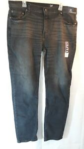 George-Men-039-s-Slim-Straight-Fit-Jeans-Black-Size-38-X-32-Stretch-5-pockets